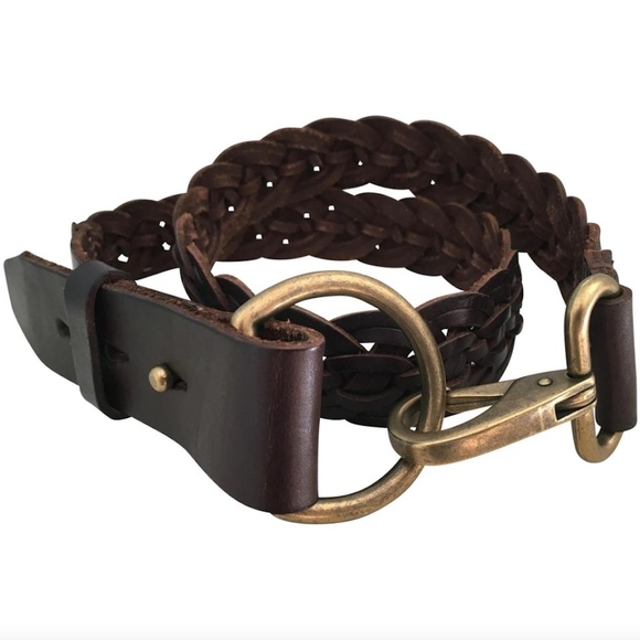 J. Crew Accessories - J.Crew Brass Clip Braided Genuine Leather Belt